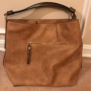 Stitch Fix brown leather hobo bag zipper pocket